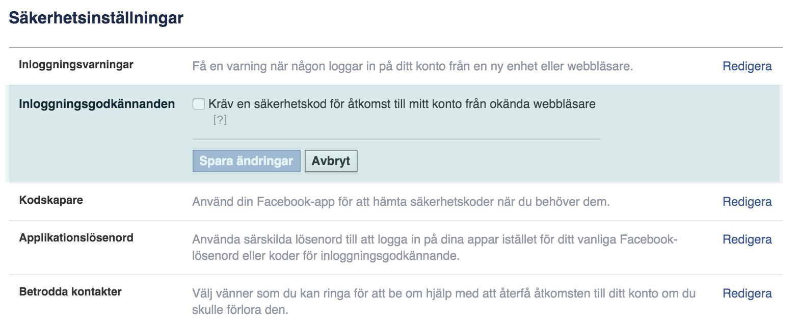 lösenord nätsäkerhet tvåstegsverifiering facebook